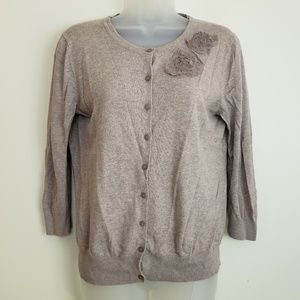 Old Navy Tan Button Down Cardigan Flower Appliques